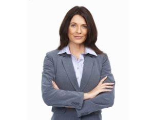 Elegant business woman with hands folded