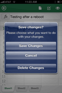 Save changes to Office document on iPhone