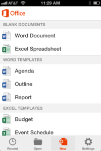 Selecting a document type on Office Mobile for iOS on iPhone