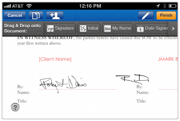 Sign N Send Add Signature to Document