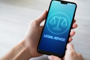 Legal advice icons on mobile phone screen. Attorney at law, consultation, supprot. Business concept.