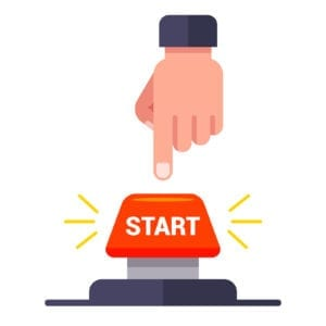 man presses the red start button. flat vector illustration.