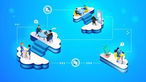 Set of cloud management concept illustration. Isometric projection of vector illustration a group of people working on a cloud control system of a smart home and work comfort