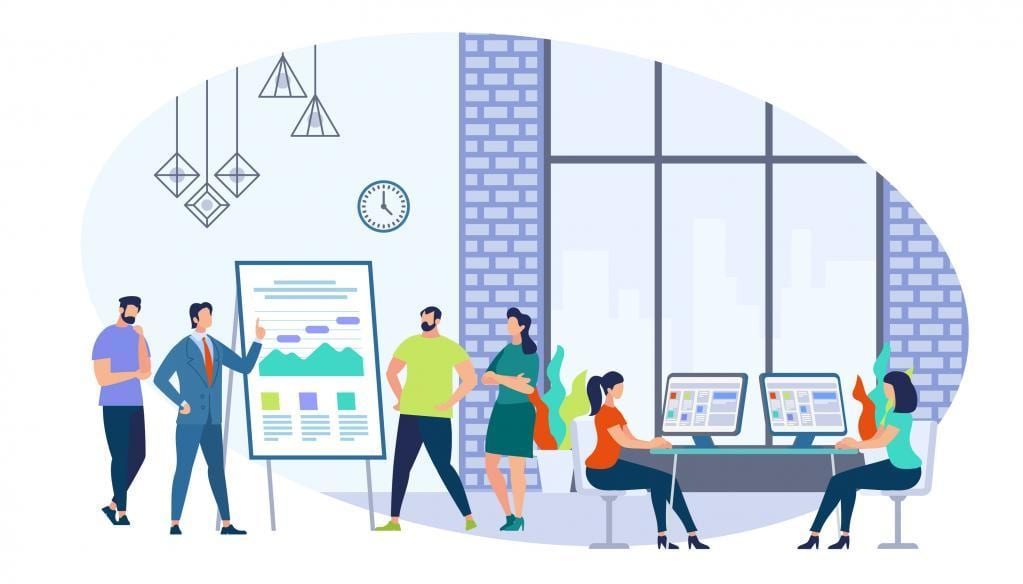 Business Training Staff with Coach in Office. Briefing Meeting. Corporate Training, Seminar. Conference Employee. Training Conference Planning Business Decisions. Cartoon Flat Vector Illustration
