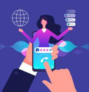 Assistant app. Hotline customer service. Internet adviser talk to client. Virtual support and mobile assistance vector concept. Assistant help service, online operator or consultant phone illustration