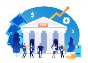 Bank building. Banking investment wealth growth symbols. Bank facade with businessman vector cartoon business concept. Facade bank, investment business, architecture building illustration