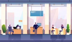 Bank office interior. Professional management banking investment. Empty bank office consulting center business financial vector. Finance bank, man investment in credit illustration