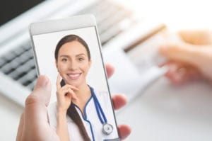 Doctor video chat consultation. Telemedicine or telehealth concept.