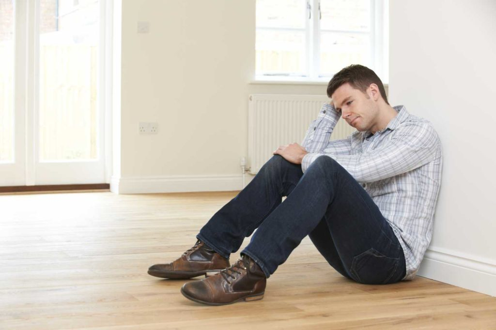 Man stressed out about bankruptcy and repossession