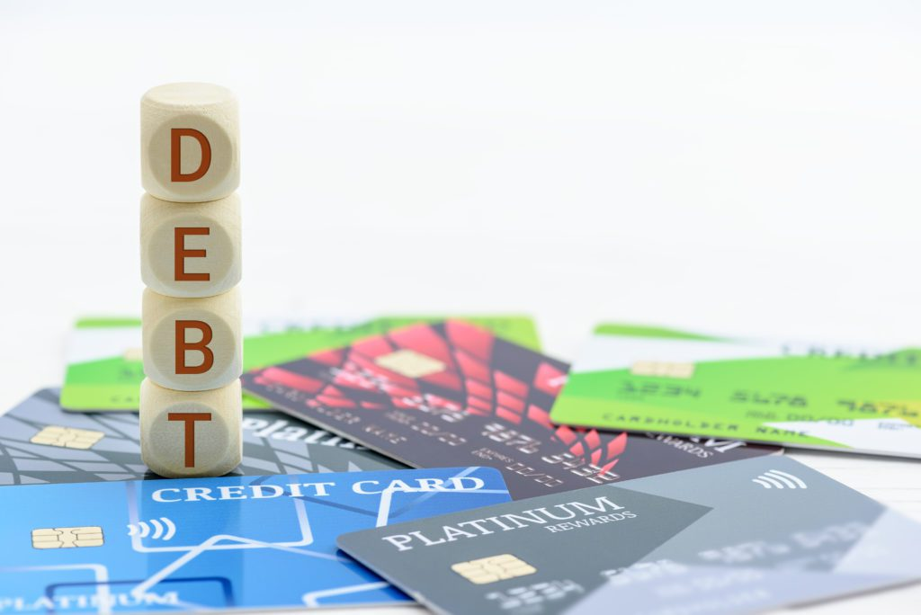 Credit card consumer debt and bankruptcy concept